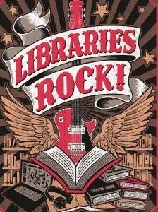 libraries rock printed over a guitar