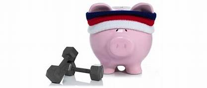 pink piggy bank with headband and free weights